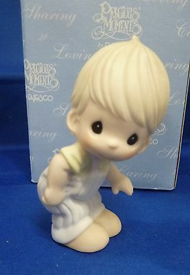 Precious Moments Figure Baby 2004  Boy bending over