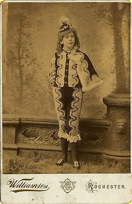 ~1880s Cabinet Photo, Strange Circus Suit Young Actress (?), Rochcester, NY