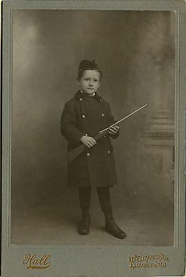EXC ~1900 Cabinet Photo, Elizabeth, NY Soldier Garbed Boy & a Toy Rifle