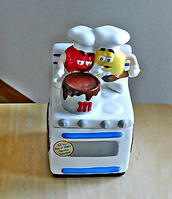 -2001 M And M's Candy Dish Stove With Red And Yellow M And Ms On Top Of Stove