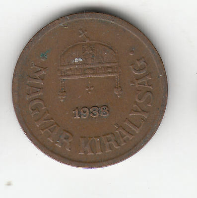 Hungary 2 Filler 1938 Copper Crown    77Q            By Coinmountain