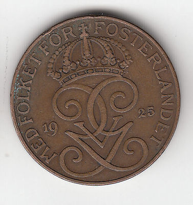 Sweden 5 Ore 1925 Copper    25Q             By Coinmountain