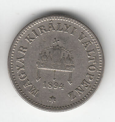 Hungary 10 Filler 1894 Crown     108Q           By Coinmountain