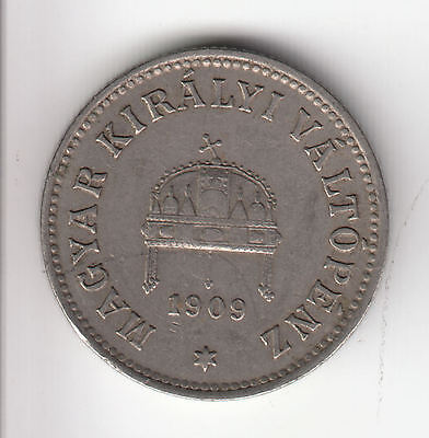 Hungary 10 Filler 1909 Crown     72Q          By Coinmountain