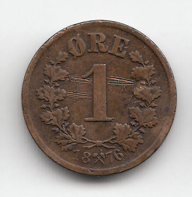 Norway 1 Ore 1876 Copper Scarce    234C             By Coinmountain