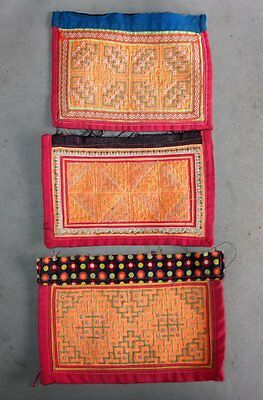 Three Old Tribal Fabric Clothing Decoration Pieces Hmong
