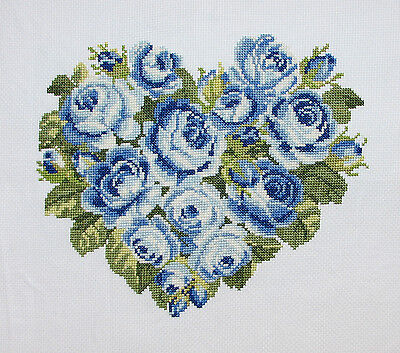 New Finished Completed Cross Stitch - Blue Rose - Rose Heart - Eternal Love - NR