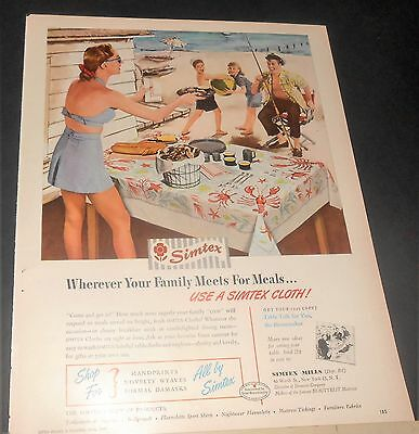 1949 Simtex Lobster/seafood Tablecloth Ad Family Fishing Vacation