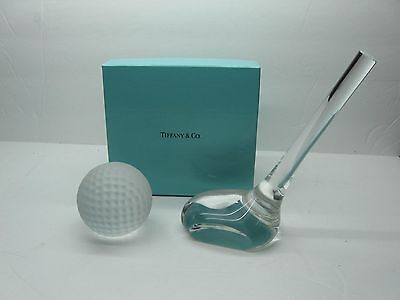 Tiffany & Co. Golf Club & Frosted Golf Ball Val St Lambert Signature Paperweight