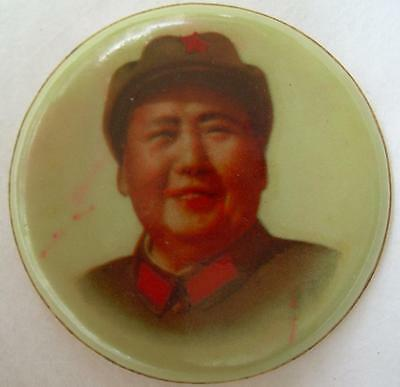 Chairman Mao Soft Plastic Badge China Dandong Cultural Revolution 49.6mm