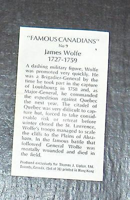 Information Card for Number 9  James Wolfe   from Famous Canadians Series