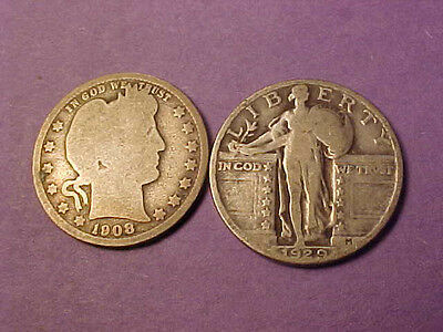 1908-O Barber And 1929 Standing Liberty Quarters