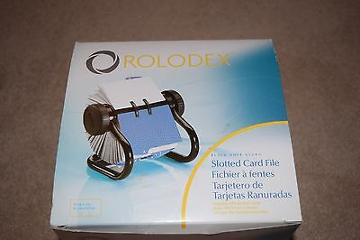 NIB Rolodex Black Open Slotted Card File with A-Z Indexed Tabs and 400 Cards