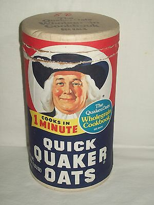 Vintage Quaker Oats Cardboard Cannister - 1 Pound 2 ounce Size - 1982