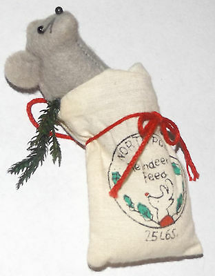 """North Pole Reindeer Feed Bag with Mouse in it Christmas Ornament 4"""""""