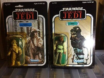 2 vintage star wars return of the jedi figures logray and nikto