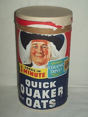 Vintage Quaker Oats Cardboard Cannister - 1 Pound 2 ounce Size - 1984
