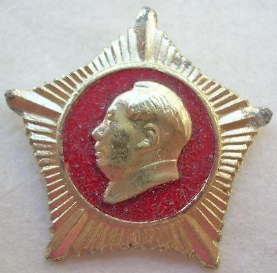 Wishing Chairman Mao an Eternal Life Star Badge Hebei China Cultural Revolution