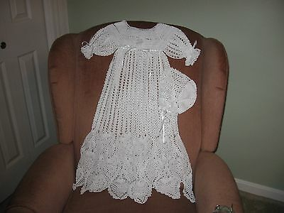 New Hand Crocheted White Christening Gown with Bonnet