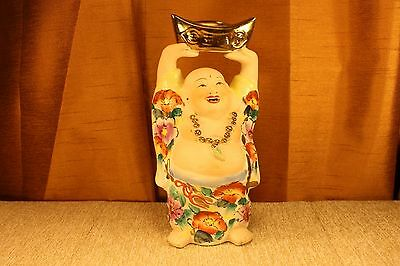 """Old Vintage 8"""" Bisque Porcelain Hotei Happy Buddha Famille Rose Statue Figurine"""