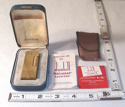 Dunhill Gold Plated Fancy Engraved Rollagas Lighter Swiss Boxed
