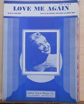 Love Me Again - 1953 sheet music - Sunny Gale photo cover