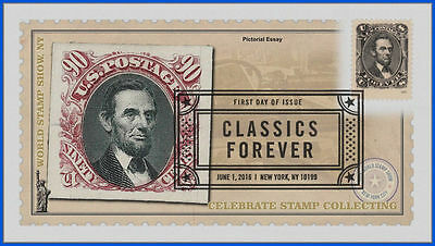 5079 US Classics First Day Cover 2016 #1133 Pictorial Essay Lincoln Red