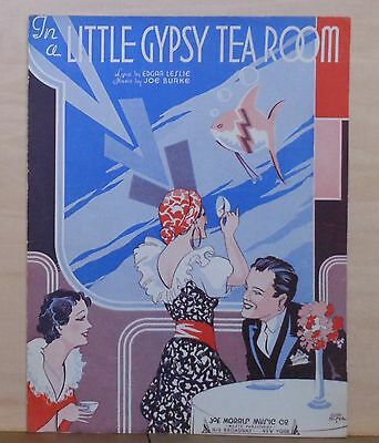In a Little Gypsy Tea Room - 1935 sheet music - gypsy fortune teller on cover