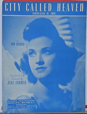City Called Heaven - sheet music - 1941 - Jane Froman photo on cover