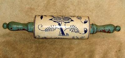 Antique German Blue Onion Rolling Pin with Painted Wood Handles