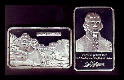 ●● Silver Plated Bar ● Usa ● Mount Rushmore And President Jefferson ●