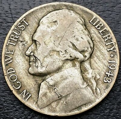 1943 U.S. Jefferson 5 Cents Nickel ***Lamination Error Coin*** Free Combined S/H