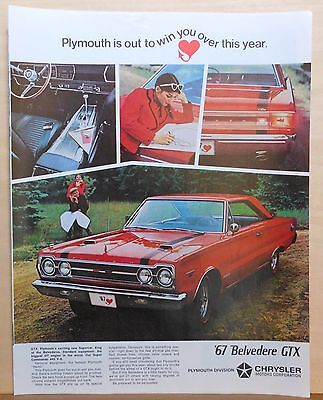 1966  magazine ad for Plymouth - red 1967 Belvedere GTX, Supercar
