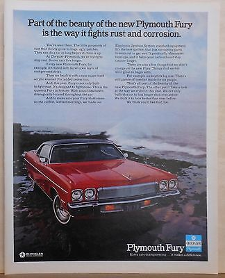 1972  magazine ad for Plymouth - red Fury by sea, Fights rust & corrosion