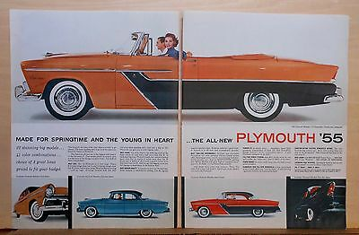 1955 two page magazine ad for Plymouth - Belvedere Convertible, Sport Coupe +