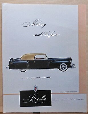 1948 magazine ad for Lincoln - Nothing Could Be Finer, Continental Cabriolet