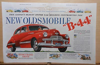 1941 double page magazine ad for Oldsmobile - 1942 B-44, To Serve America's need