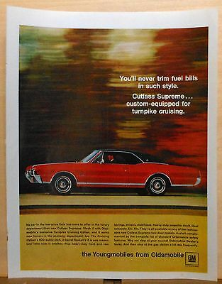 1967 magazine ad for Oldsmobile - 1967 Cutlass Supreme, For Turnpike Driving