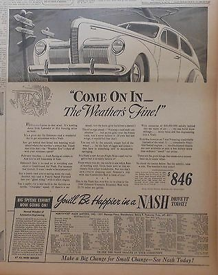 Large 1940 newspaper ad for Nash - C'mon In The Weather's Fine, Weather Eye