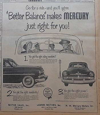 1950 large newspaper ad for Mercury - Better Balance just right for you