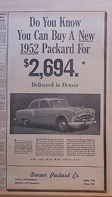 1952 newspaper ad for Packard - 4-door Sedan, Famous Quality at moderate price