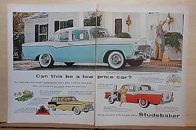 1956 two page magazine ad for Studebaker - Commander 2-door Sedan, Low Price Car