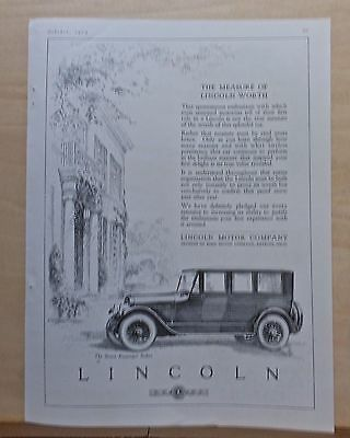 1923 magazine ad for Lincoln - Measure of Lincoln Worth, 7 passenger Sedan