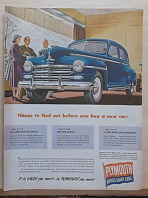 1948 magazine ad for Plymouth - Famous Basic Features, car in showroom