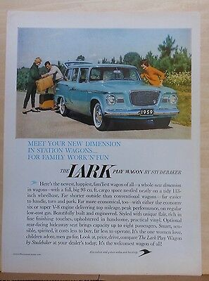 1958 magazine ad for Studebaker - Lark Play Wagon, New Dimension, Family Fun