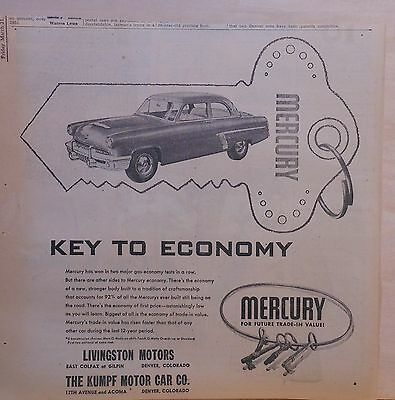 1952 newspaper ad for Mercury -Key To Economy, wins two gas economy tests in row