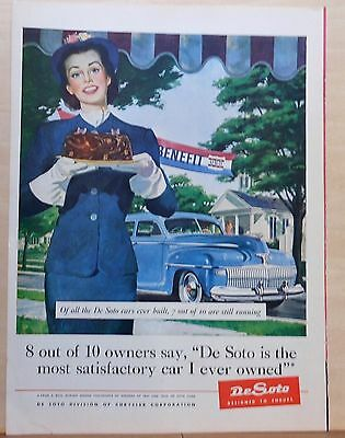 1945 magazine ad for DeSoto - USO girl with cake, blue Hudson, World War Two ad