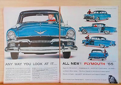 1954 two page magazine ad for Plymouth - blue 1955 Belvedere, Metal in Motion