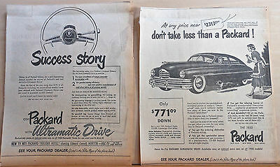 Two 1950 newspaper ads for Packards - Don't Take Less, Success Story