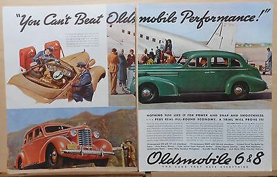 1937 two page magazine ad for Oldsmobile - Can't Beat Oldsmobile Performance